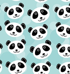 Panda Seamless pattern with funny cute animal face vector image