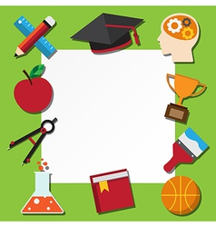 Paper note and school icons set vector image vector image