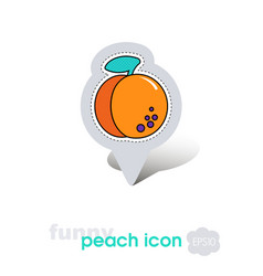 peach fruit or nectarine with leaf pin map icon vector image