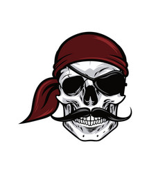 pirate head skull mascot design vector image