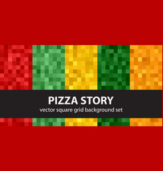 pixel pattern set pizza story seamless pixel art vector image