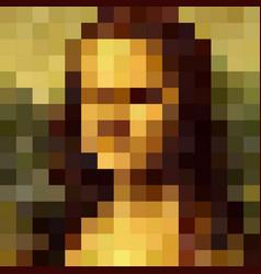 Portrait mona lisa pixel art style graphic vector