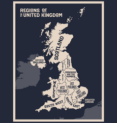 poster map regions united kingdom vector image