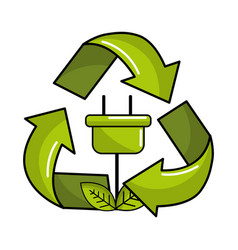 Power cable with leaves inside of recycling symbol vector