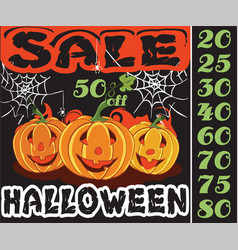 pumpkin and sale in the holiday halloween design vector image
