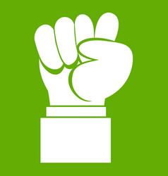 raised up clenched male fist icon green vector image
