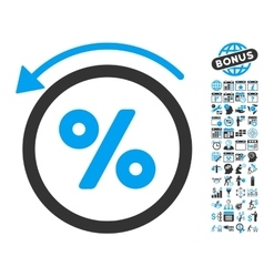 Rebate Percent Flat Icon With Bonus vector