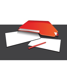 Red folder and paper vector