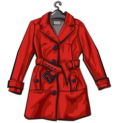 Red rain coat vector