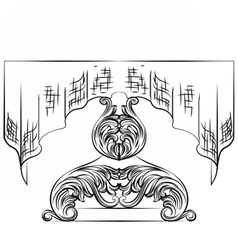 Rich baroque table with tablecloth vector