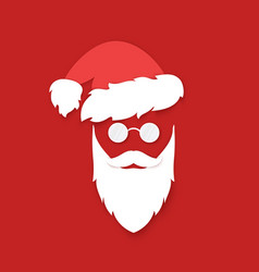 santa claus face silhouette on red background vector image