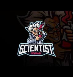 Scientist mascot sport logo design vector