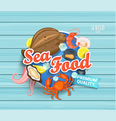 Seafood label on blue wooden background vector