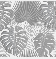 Seamless pattern with grayscale tropical exotic vector