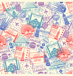 seamless pattern with world visa rubber stamps vector image