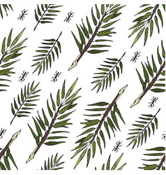 seamless sketch jungle leaves print vector image