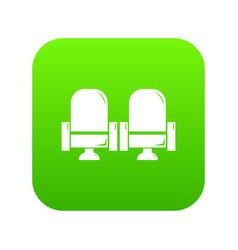 seat theater icon green vector image