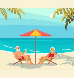 seniors relaxes on a sea beach vector image