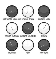 set clocks for timezone hour icon set vector image