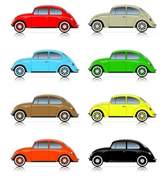 set colorful compact cars vector image