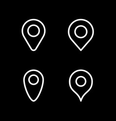 set line icons location pin vector image