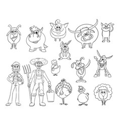 Set of hand drawn cartoon farm animals and male vector