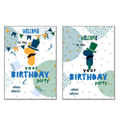 set of happy birthday cards design for one year vector image