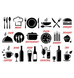set restaurant cafe icons silhouettes vector image