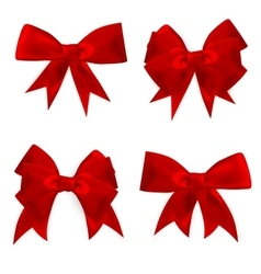 Shiny red satin bow Set EPS 10 vector image