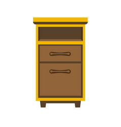 Small wooden bedside chest vector