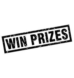 Square grunge black win prizes stamp vector
