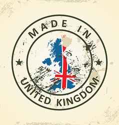 Stamp with map flag of United Kingdom vector image
