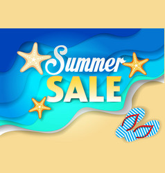 summer sale paper cut poster template vector image