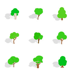 Summer tree icons isometric 3d style vector