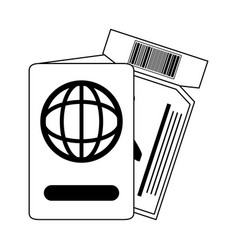 Summer vacation travel passport and airline vector