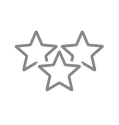 Three stars customer review line icon rating vector