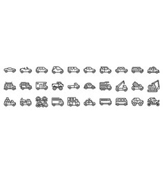 Transportation related icon set line style vector