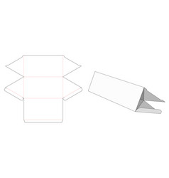 Triangle shaped gift box die cut template vector