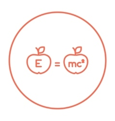 Two apples with formulae line icon vector