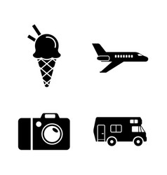 vacation travel journey simple related icons vector image