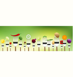 vegetables on forks vector image