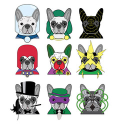 Villains french bulldogs vector