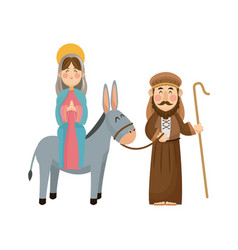 Virgin mary joseph donkey scene nativity vector