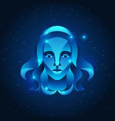 virgo zodiac sign blue star horoscope symbol vector image