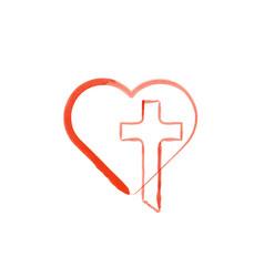 Watercolor heart and christian cross love god vector