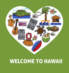 Welcome to hawaii promo banner with national vector