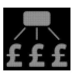 White halftone pound financial scheme icon vector