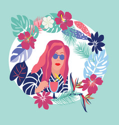 woman relaxing with cocktail glass in tropical vector image