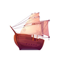Wooden boat with white sails vector