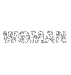 Word woman of decorative letters vector